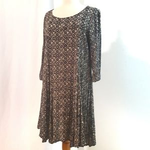 Everly Black and White Pattern Swing Dress
